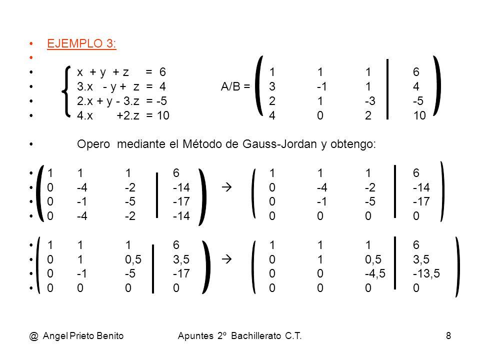 @ Angel Prieto BenitoApuntes 2º Bachillerato C.T.8 EJEMPLO 3: x + y + z = 61116 3.x - y + z = 4A/B =3-114 2.x + y - 3.z = -521-3-5 4.x +2.z = 1040210
