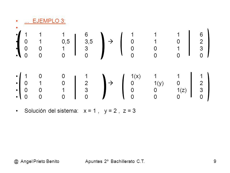@ Angel Prieto BenitoApuntes 2º Bachillerato C.T.9... EJEMPLO 3: 11161116 010,53,5 0102 00130013 00000000 10011(x)111 0102 01(y)02 0013001(z)3 0000000