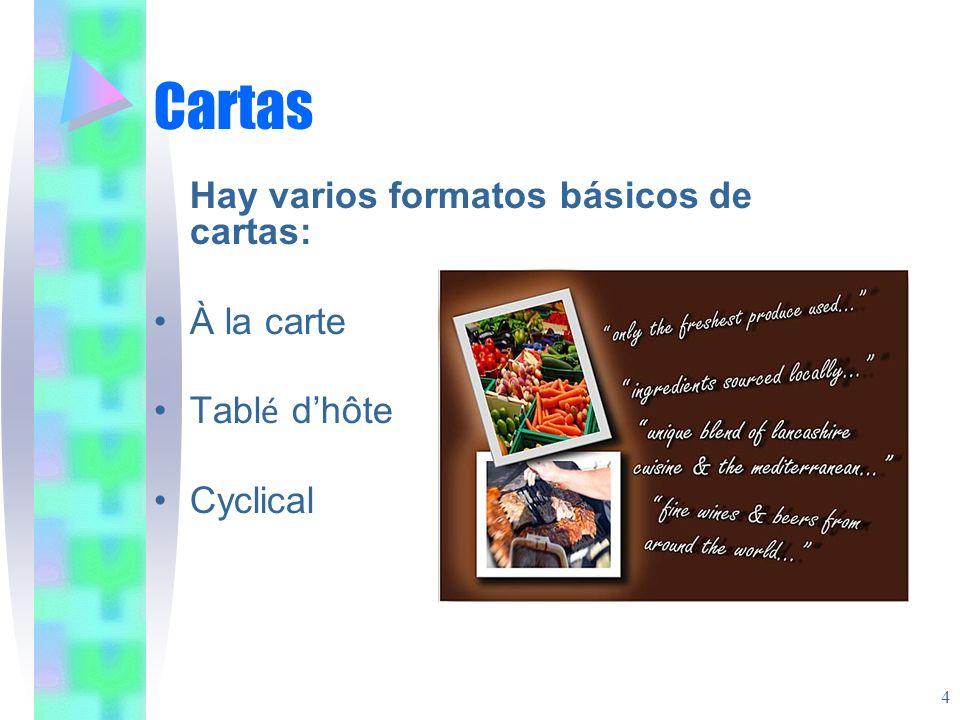 Cartas Hay varios formatos básicos de cartas: À la carte Tabl é dhôte Cyclical 4