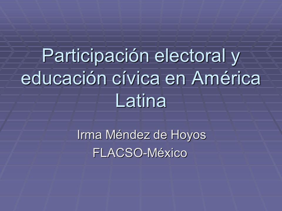Participación electoral y educación cívica en América Latina Irma Méndez de Hoyos Irma Méndez de HoyosFLACSO-México