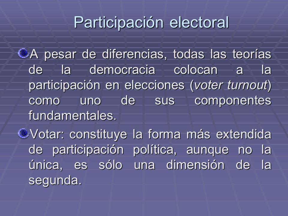 Participación electoral A pesar de diferencias, todas las teorías de la democracia colocan a la participación en elecciones (voter turnout) como uno d
