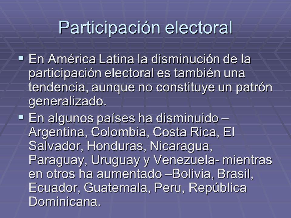 En América Latina la disminución de la participación electoral es también una tendencia, aunque no constituye un patrón generalizado. En América Latin