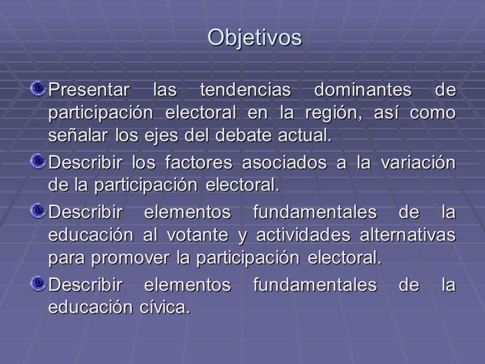 Objetivos Presentar las tendencias dominantes de participación electoral en la región, así como señalar los ejes del debate actual. Describir los fact