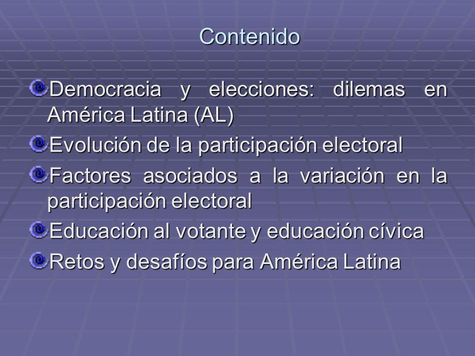Contenido Democracia y elecciones: dilemas en América Latina (AL) Evolución de la participación electoral Factores asociados a la variación en la part