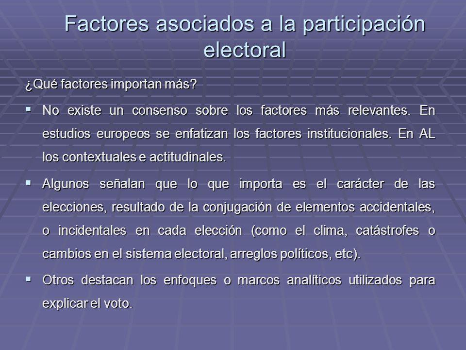 Factores asociados a la participación electoral ¿Qué factores importan más? No existe un consenso sobre los factores más relevantes. En estudios europ