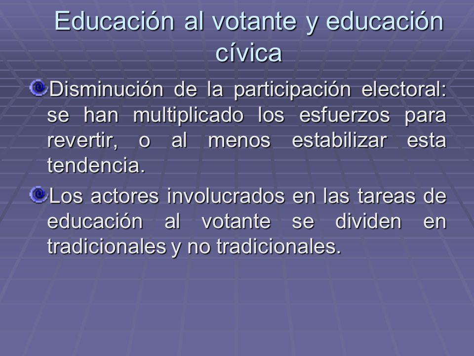 Educación al votante y educación cívica Disminución de la participación electoral: se han multiplicado los esfuerzos para revertir, o al menos estabil