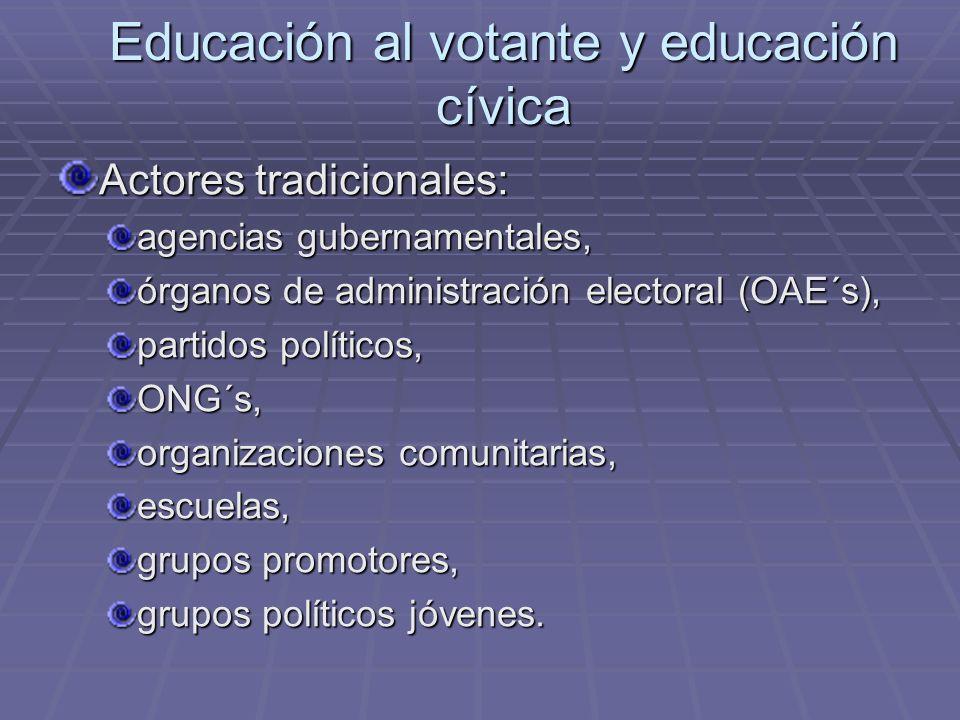 Educación al votante y educación cívica Actores tradicionales: agencias gubernamentales, órganos de administración electoral (OAE´s), partidos polític