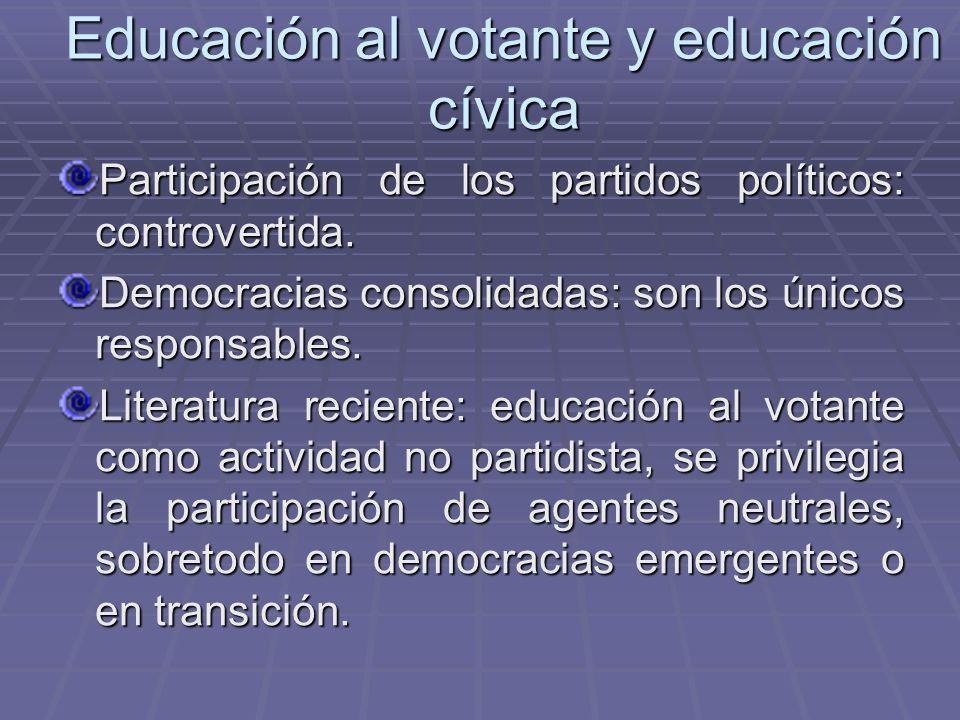 Educación al votante y educación cívica Participación de los partidos políticos: controvertida. Democracias consolidadas: son los únicos responsables.