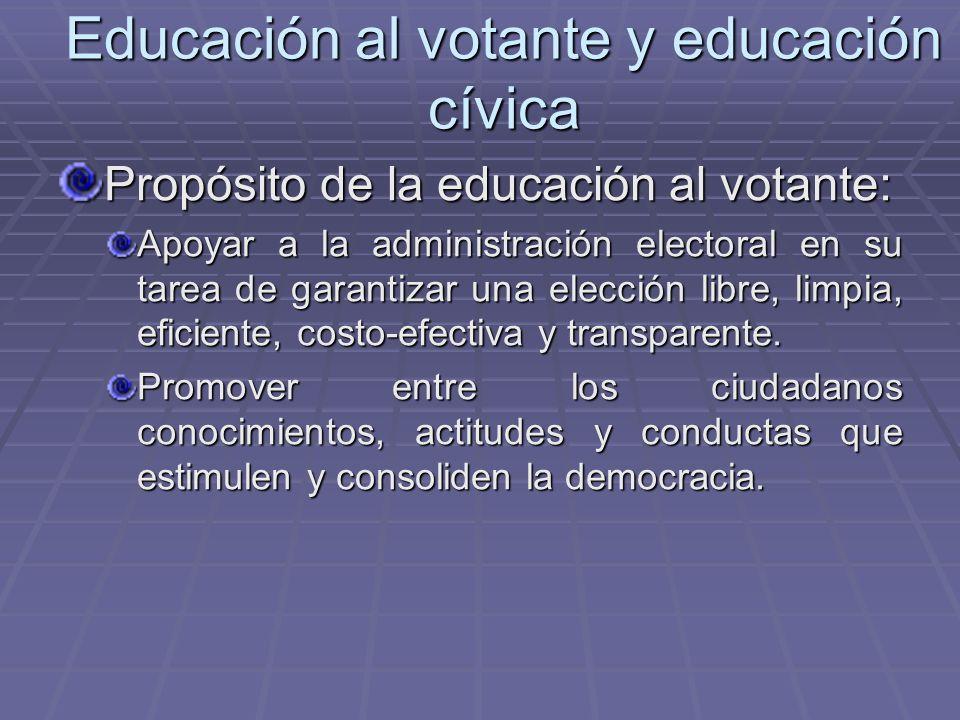 Educación al votante y educación cívica Propósito de la educación al votante: Apoyar a la administración electoral en su tarea de garantizar una elecc