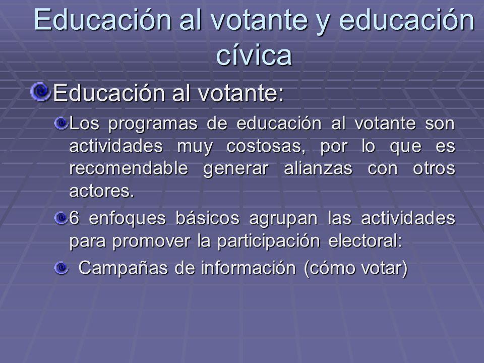 Educación al votante y educación cívica Educación al votante: Los programas de educación al votante son actividades muy costosas, por lo que es recome