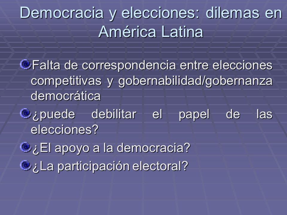 Democracia y elecciones: dilemas en América Latina Falta de correspondencia entre elecciones competitivas y gobernabilidad/gobernanza democrática ¿pue