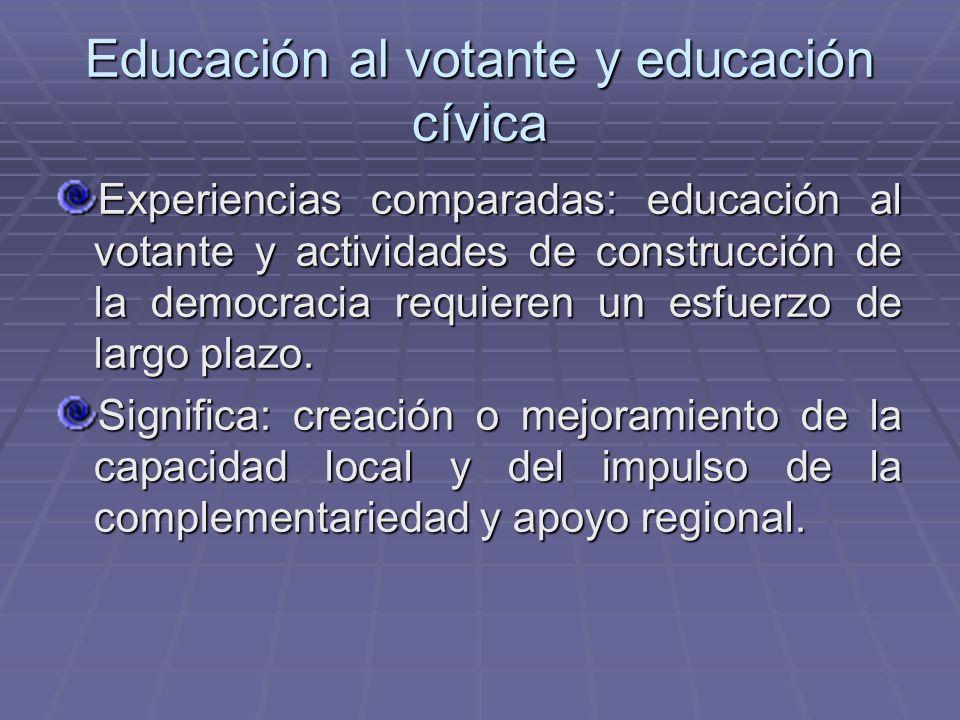 Educación al votante y educación cívica Experiencias comparadas: educación al votante y actividades de construcción de la democracia requieren un esfu