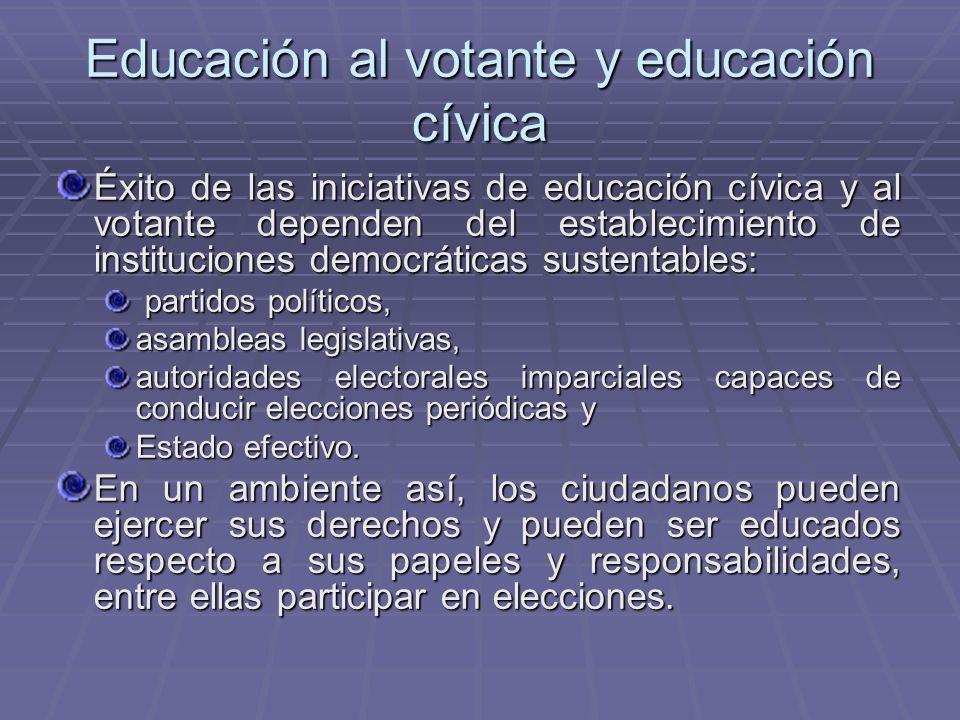 Educación al votante y educación cívica Éxito de las iniciativas de educación cívica y al votante dependen del establecimiento de instituciones democr