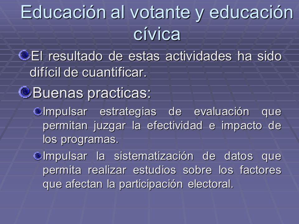 Educación al votante y educación cívica El resultado de estas actividades ha sido difícil de cuantificar. Buenas practicas: Impulsar estrategias de ev