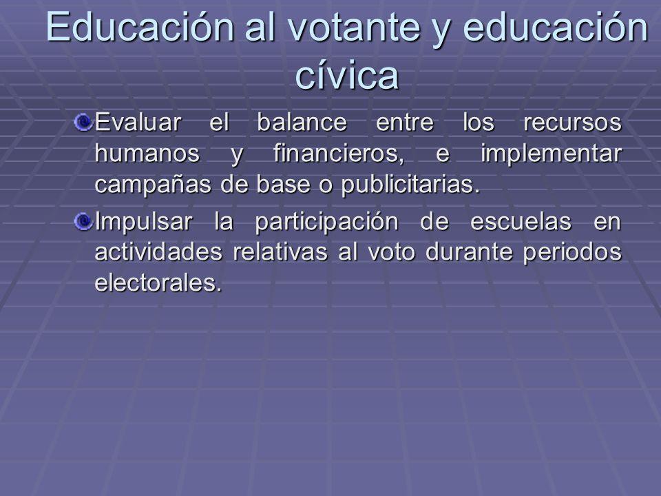 Educación al votante y educación cívica Evaluar el balance entre los recursos humanos y financieros, e implementar campañas de base o publicitarias. I