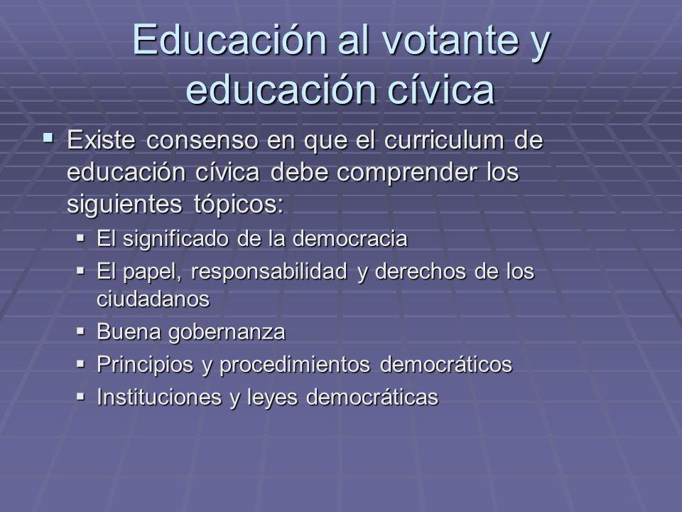 Educación al votante y educación cívica Existe consenso en que el curriculum de educación cívica debe comprender los siguientes tópicos: Existe consen