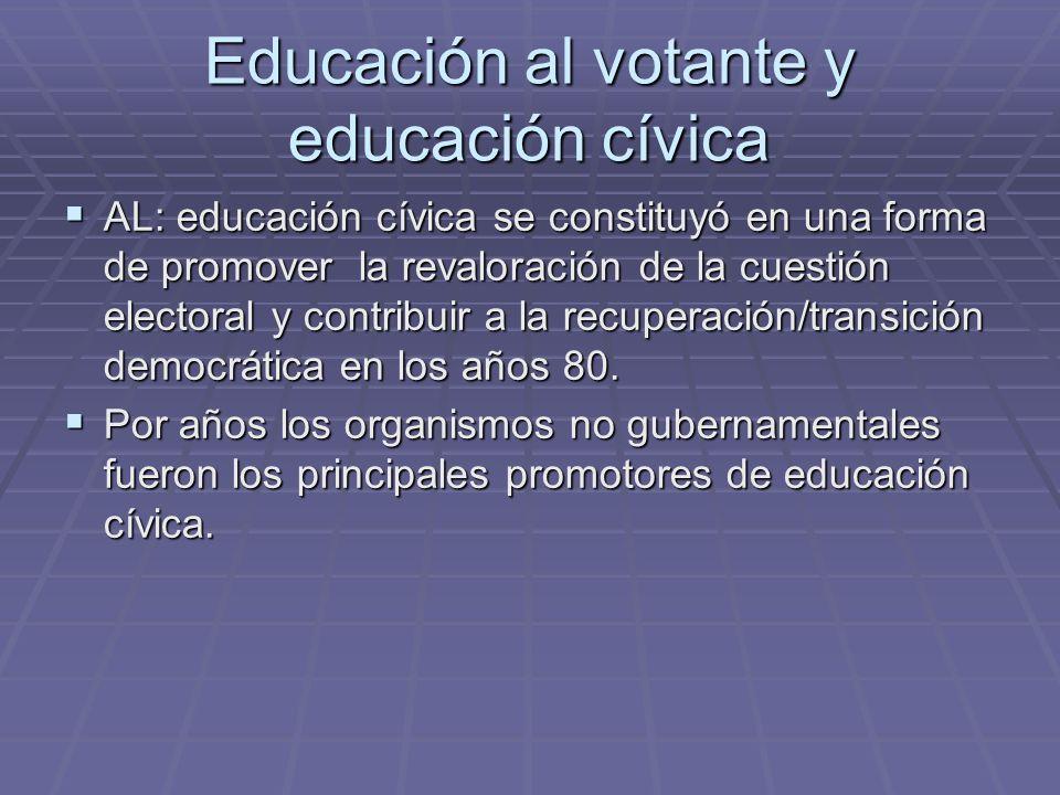Educación al votante y educación cívica AL: educación cívica se constituyó en una forma de promover la revaloración de la cuestión electoral y contrib