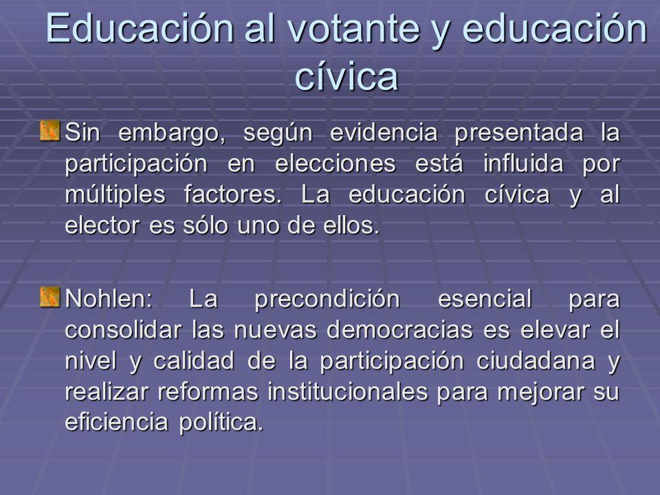Educación al votante y educación cívica Sin embargo, según evidencia presentada la participación en elecciones está influida por múltiples factores. L