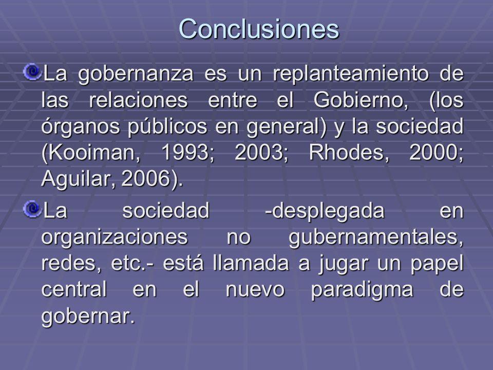 Conclusiones La gobernanza es un replanteamiento de las relaciones entre el Gobierno, (los órganos públicos en general) y la sociedad (Kooiman, 1993;