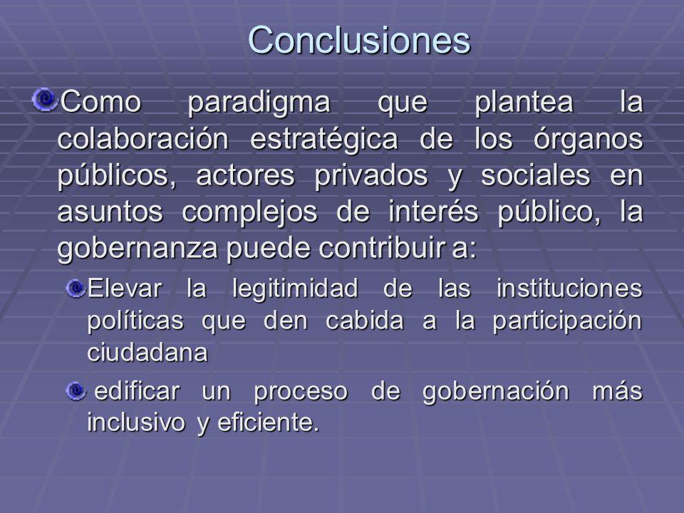 Conclusiones Como paradigma que plantea la colaboración estratégica de los órganos públicos, actores privados y sociales en asuntos complejos de inter