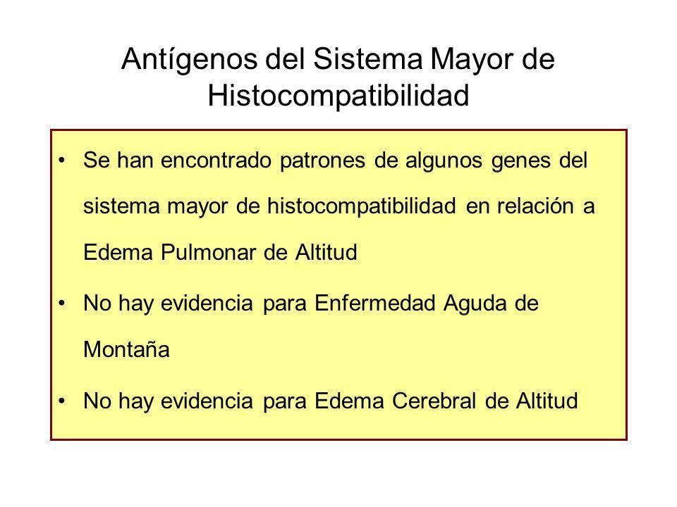 Antígenos del Sistema Mayor de Histocompatibilidad Se han encontrado patrones de algunos genes del sistema mayor de histocompatibilidad en relación a