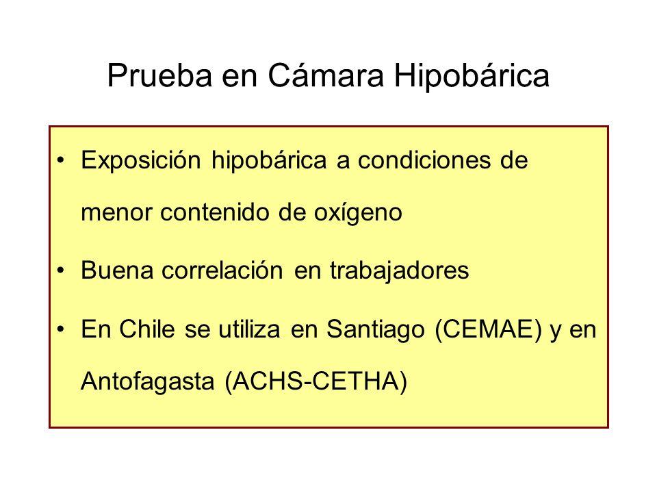 Prueba en Cámara Hipobárica Exposición hipobárica a condiciones de menor contenido de oxígeno Buena correlación en trabajadores En Chile se utiliza en