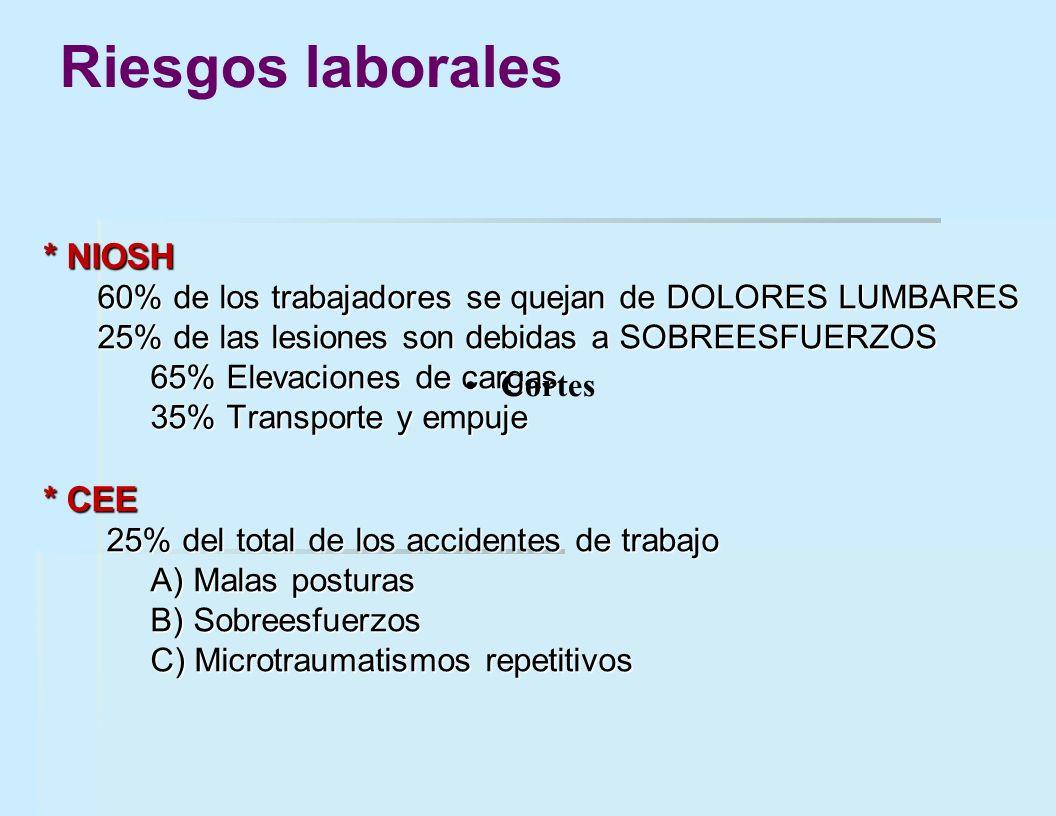 * NIOSH 60% de los trabajadores se quejan de DOLORES LUMBARES 25% de las lesiones son debidas a SOBREESFUERZOS 65% Elevaciones de cargas 35% Transport