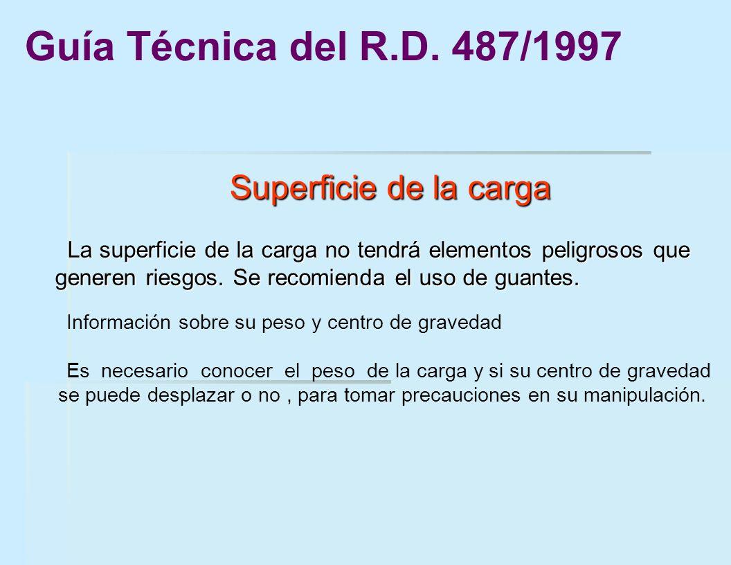 Superficie de la carga Superficie de la carga La superficie de la carga no tendrá elementos peligrosos que generen riesgos. Se recomienda el uso de gu