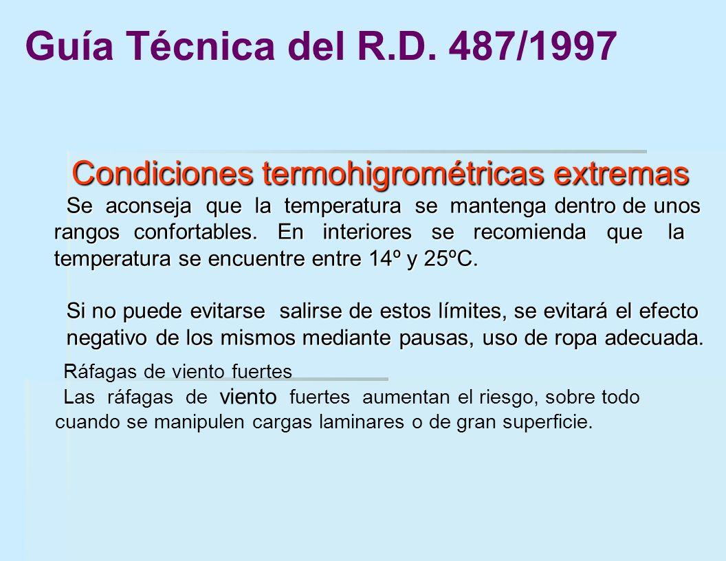 Condiciones termohigrométricas extremas Condiciones termohigrométricas extremas Se aconseja que la temperatura se mantenga dentro de unos rangos confo