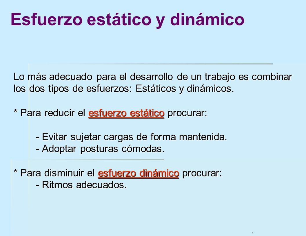 Lo más adecuado para el desarrollo de un trabajo es combinar los dos tipos de esfuerzos: Estáticos y dinámicos. * Para reducir el esfuerzo estático pr