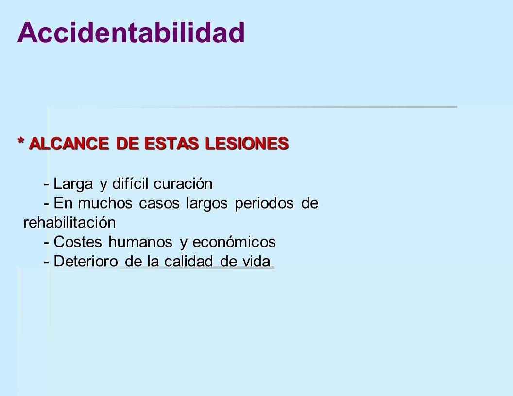 * ALCANCE DE ESTAS LESIONES - Larga y difícil curación - En muchos casos largos periodos de rehabilitación - Costes humanos y económicos - Deterioro d