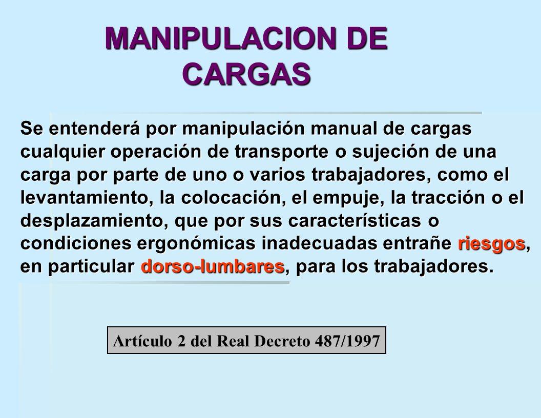 Se entenderá por manipulación manual de cargas cualquier operación de transporte o sujeción de una carga por parte de uno o varios trabajadores, como