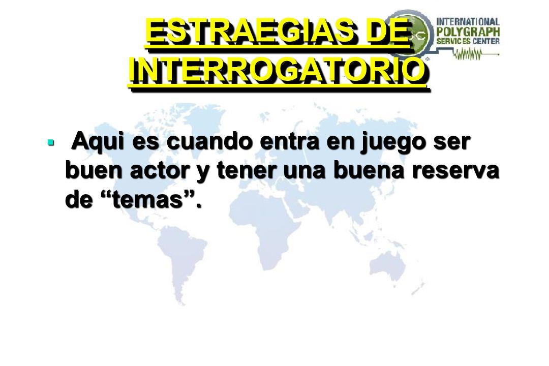 ESTRAEGIAS DE INTERROGATORIO Aqui es cuando entra en juego ser buen actor y tener una buena reserva de temas. Aqui es cuando entra en juego ser buen a