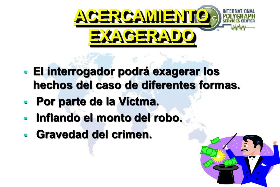 ACERCAMIENTO EXAGERADO El interrogador podrá exagerar los hechos del caso de diferentes formas.