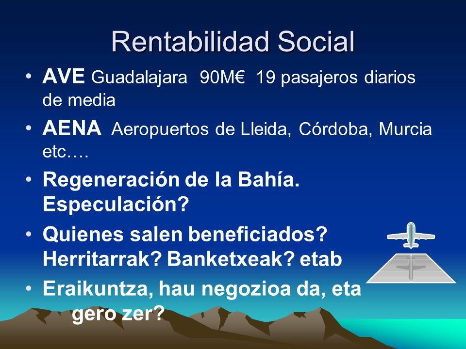 Rentabilidad Social AVE Guadalajara 90M 19 pasajeros diarios de media AENA Aeropuertos de Lleida, Córdoba, Murcia etc…. Regeneración de la Bahía. Espe