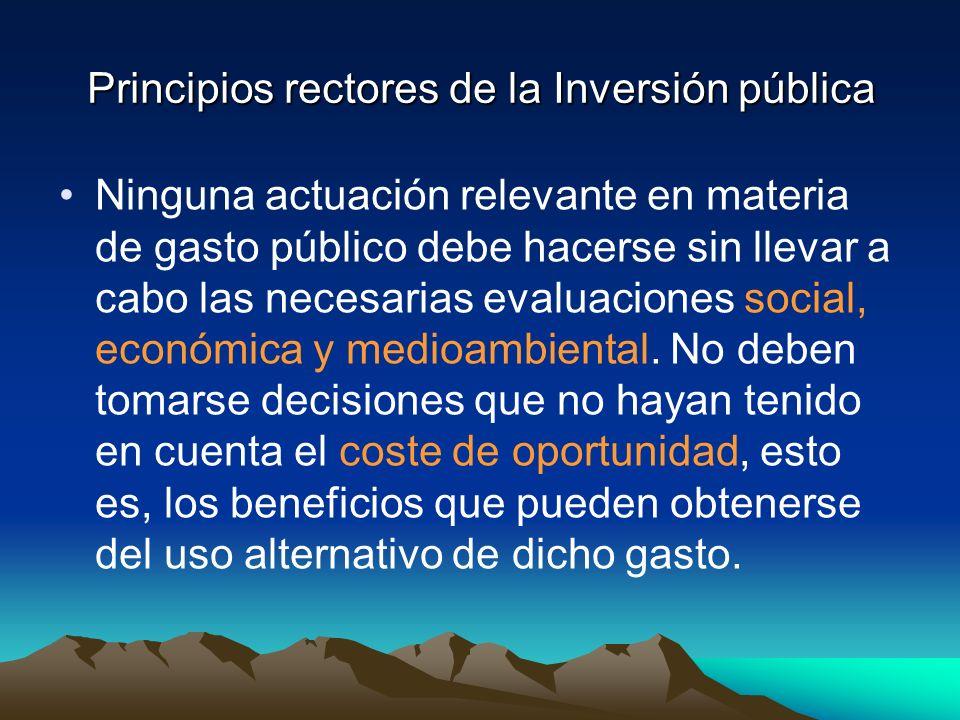 Principios rectores de la Inversión pública Ninguna actuación relevante en materia de gasto público debe hacerse sin llevar a cabo las necesarias evaluaciones social, económica y medioambiental.