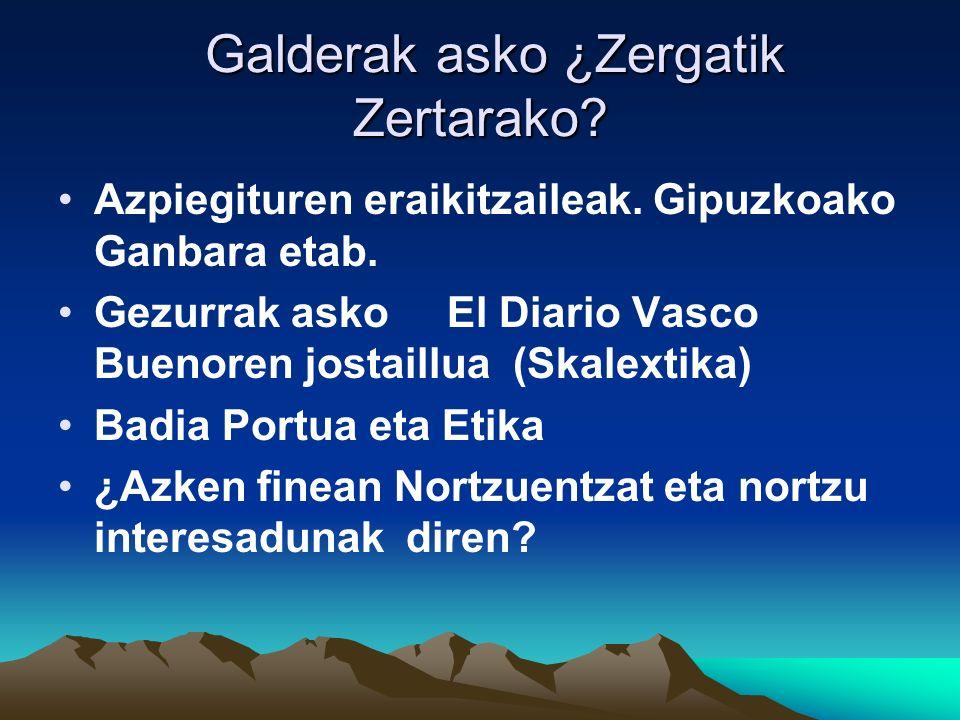 Galderak asko ¿Zergatik Zertarako. Galderak asko ¿Zergatik Zertarako.