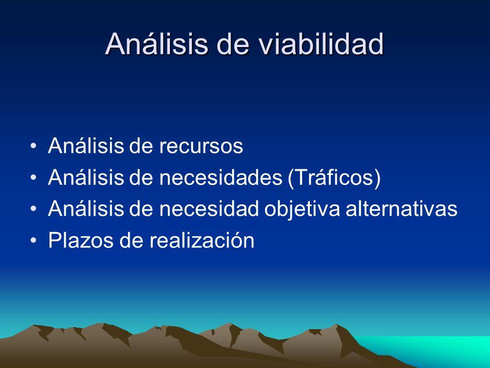 Análisis de viabilidad Análisis de recursos Análisis de necesidades (Tráficos) Análisis de necesidad objetiva alternativas Plazos de realización