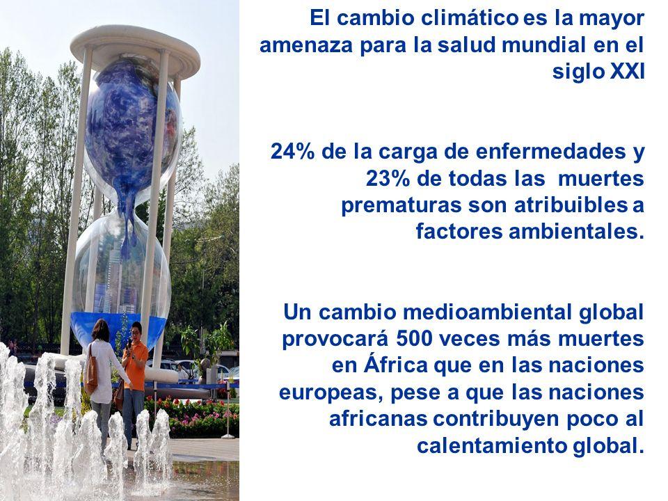 El cambio climático es la mayor amenaza para la salud mundial en el siglo XXI 24% de la carga de enfermedades y 23% de todas las muertes prematuras son atribuibles a factores ambientales.