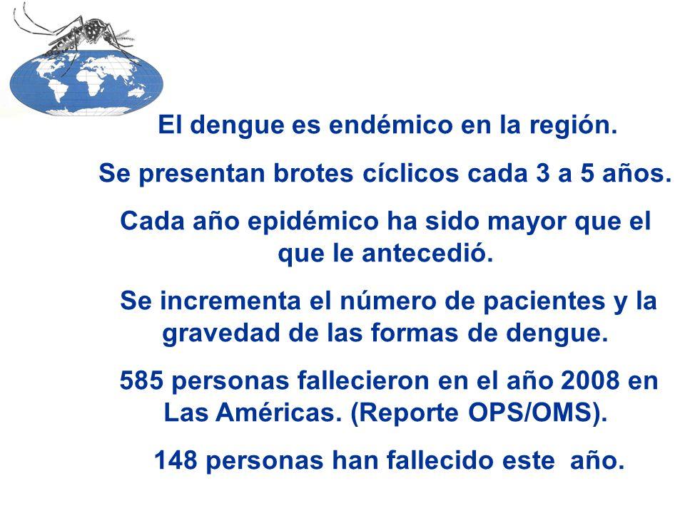 El dengue es endémico en la región. Se presentan brotes cíclicos cada 3 a 5 años.
