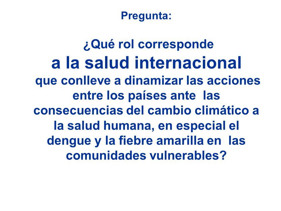 Pregunta: ¿Qué rol corresponde a la salud internacional que conlleve a dinamizar las acciones entre los países ante las consecuencias del cambio climático a la salud humana, en especial el dengue y la fiebre amarilla en las comunidades vulnerables