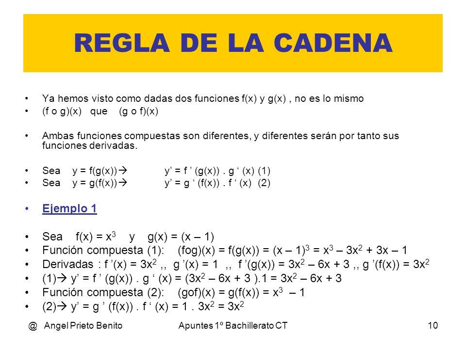 @ Angel Prieto BenitoApuntes 1º Bachillerato CT10 REGLA DE LA CADENA Ya hemos visto como dadas dos funciones f(x) y g(x), no es lo mismo (f o g)(x) qu