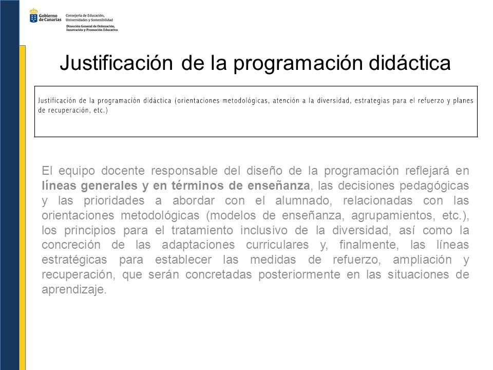 Justificación de la programación didáctica Las orientaciones metodológicas generales (b, c, f).