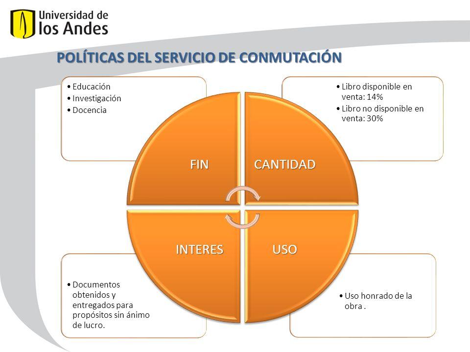 POLÍTICAS DEL SERVICIO DE CONMUTACIÓN Uso honrado de la obra.