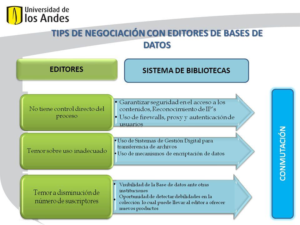 TIPS DE NEGOCIACIÓN CON EDITORES DE BASES DE DATOS CONMUTACIÓN EDITORES SISTEMA DE BIBLIOTECAS