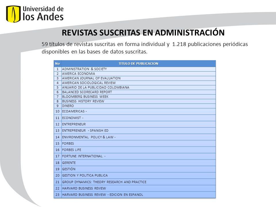 REVISTAS SUSCRITAS EN ADMINISTRACIÓN 59 títulos de revistas suscritas en forma individual y 1.218 publicaciones periódicas disponibles en las bases de datos suscritas.