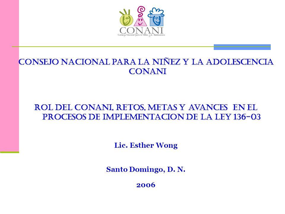 en proceso …… Completar la Estructura Nacional del CONANI, según lo establece la Ley 136-03: Oficinas Municipales, Directorios Municipales, Juntas Locales de Protección y Restitución de Derechos.