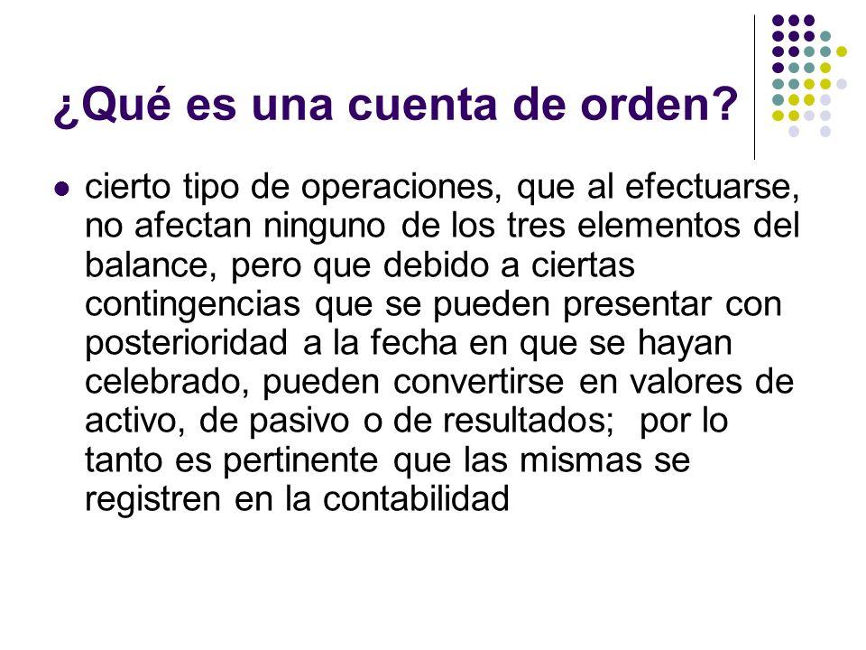 ¿Qué es una cuenta de orden? cierto tipo de operaciones, que al efectuarse, no afectan ninguno de los tres elementos del balance, pero que debido a ci