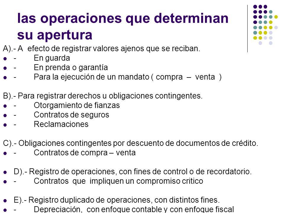 las operaciones que determinan su apertura A).- A efecto de registrar valores ajenos que se reciban. - En guarda - En prenda o garantía - Para la ejec