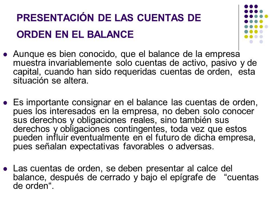 PRESENTACIÓN DE LAS CUENTAS DE ORDEN EN EL BALANCE Aunque es bien conocido, que el balance de la empresa muestra invariablemente solo cuentas de activ
